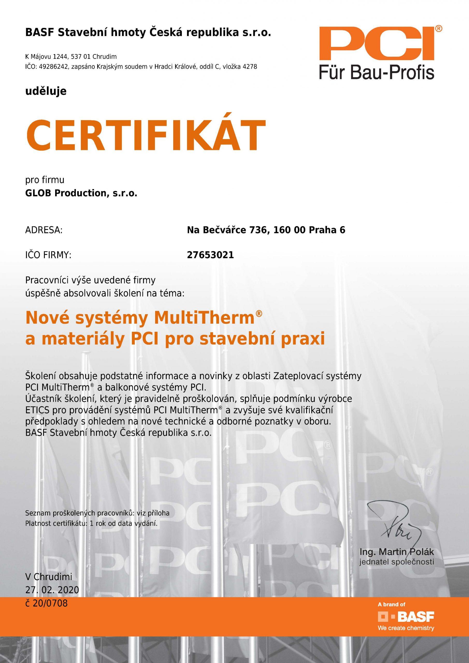 Certifikát PCI